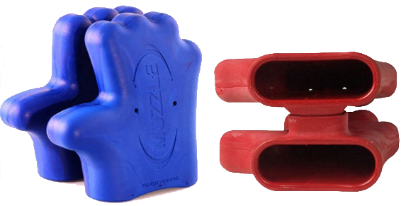 The Muzzle Offensive Line Blocking Tool in Red and Blue
